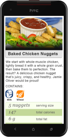 school lunch menu pictured on a smartphone